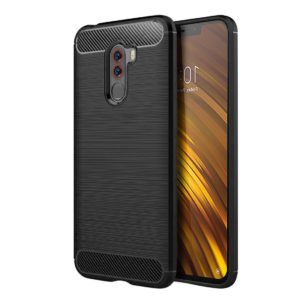 TARKAN Carbon Fibre Rugged Shock Proof HQ Rubberized Back Cover for Poco F1
