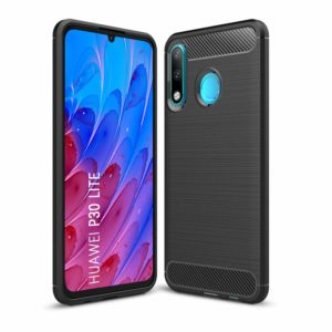 Tarkan Carbon Fibre Rugged Shock Proof Soft Back Case Cover for Huawei P30 Lite (Black)