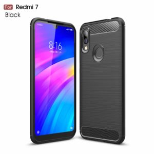 Tarkan Carbon Fibre Rugged Shock Proof Soft Back Case Cover for Redmi 7 (Black)