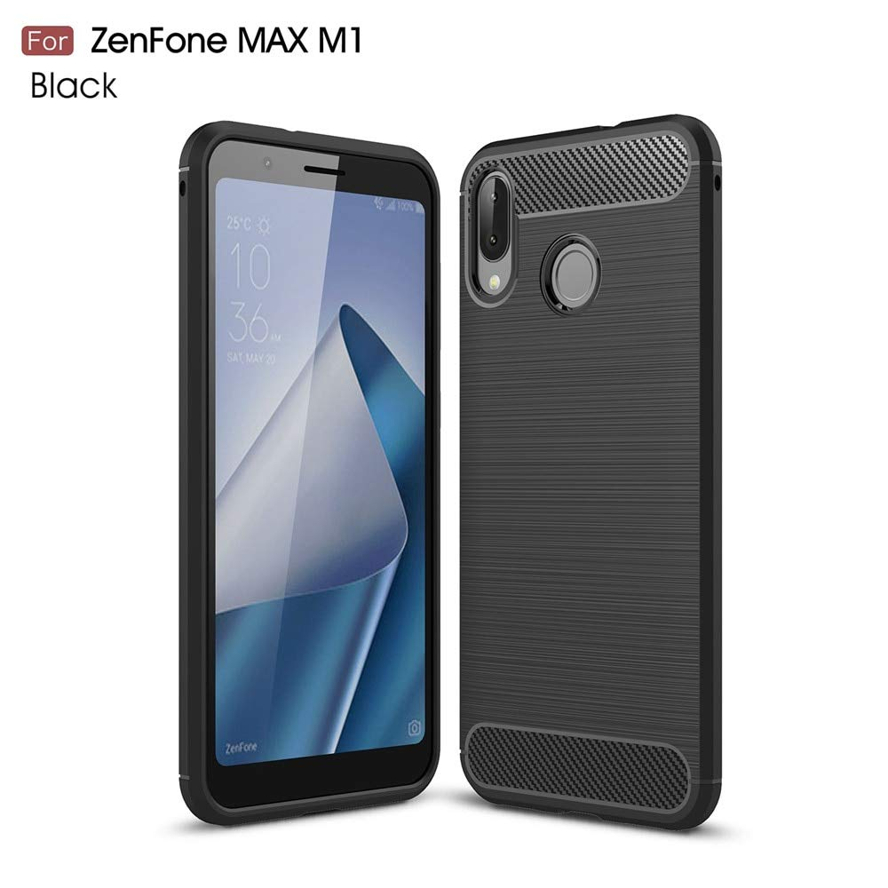 low priced 2fb0a cbd5f Tarkan Carbon Fibre Rugged Shock Proof Soft Back Case Cover for Asus  Zenfone Max M1 (Black)
