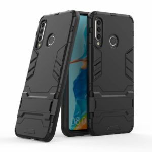 Tarkan Heavy Duty Shockproof Armour Stand Back Case Cover for Huawei P30 Lite (Black)
