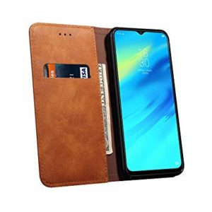 Tarkan Vintage Vegan Leather Back Stand Flip Cover Wallet Case for Redmi 7 (Caramel Brown)