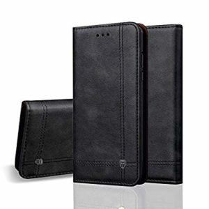 Tarkan Vintage Vegan Leather Back Stand Flip Cover Wallet Case with Card Slot for Huawei P30 Pro (Charcoal Black)