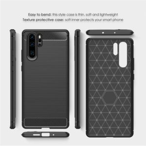 Tarkan Carbon Fibre Rugged Shock Proof Soft Back Case Cover for Huawei P30 Pro (Black)