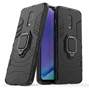 TARKAN Ring Holder Heavy Duty Armor Back Case Cover with Stand for OnePlus 7 (Black)
