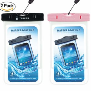 Tarkan Matte Universal Waterproof Case, IPx8 Phone Pouch for Swimming, Hiking, Biking, Underwater, Rain Fits Upto 6.5 Inch Mobiles (2 Pack – Black, Pink)