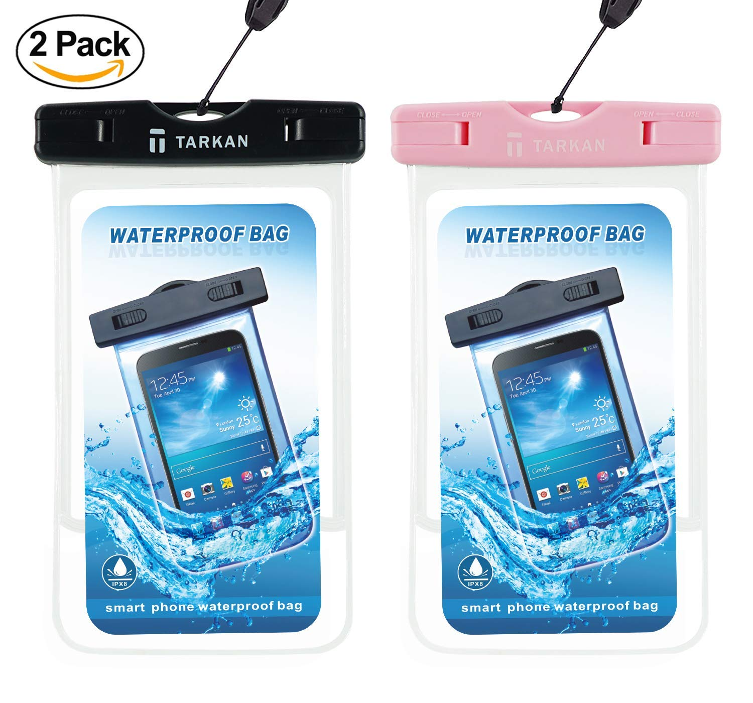 premium selection 9e30a af1a6 Tarkan Matte Universal Waterproof Case, IPx8 Phone Pouch for Swimming,  Hiking, Biking, Underwater, Rain Fits Upto 6.5 Inch Mobiles (2 Pack -  Black, ...