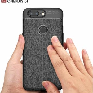 Tarkan Leather Textured Slim Protective HQ Rugged Back Cover for OnePlus 5T [Charcoal Black]