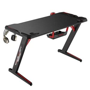 Tarkan Professional Gaming Desk Large Carbon Fiber Surface Table for Home, Office with RGB Light, Cup & Headphone Holder (Black)