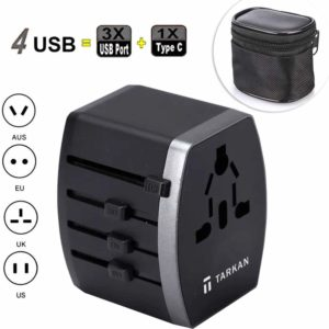 Tarkan Travel Adapter, Worldwide Universal 5V/3.4A Wall Charger for Mobile, Laptop Supports EU, UK, US, AU, Asia with 1 Type C Port, 3 USB-A, 1 AC Outlet International Power Plug (Grey)