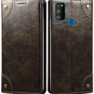 Tarkan Vegan Leather Flip Case Cover for Samsung Galaxy M30s (Brown) Magnetic Closure, Kickstand Design, Cash Card Slots