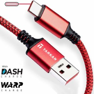 Tarkan 6.6 ft Long Rugged Dash & Warp Charging Data Type C Cable for All USB-C Android Mobile Phones (Red) Supports 5V 6A & 5V 4A (20W & 30W)