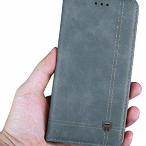 Tarkan Vintage Leather Back Stand with Inbuilt Card Slot Flip Cover for Moto E5 Plus (Rustic Grey)