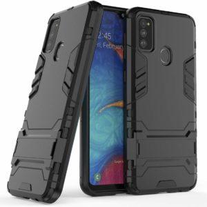 TARKAN Heavy Duty Shockproof Armor Kickstand Back Case Cover for Samsung Galaxy M30s (Black)