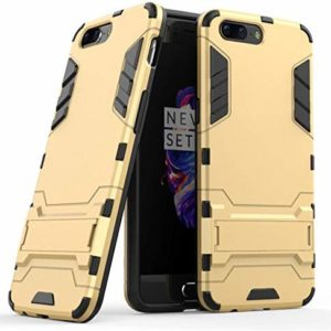 TARKAN Heavy Duty Shockproof Kickstand Back Case Cover for OnePlus 5 [Gold]