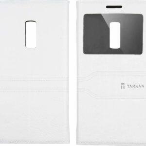 Tarkan Window Leather Flip Case Cover with Convertible Stand for OnePlus Two (Milky White, One Plus 2)