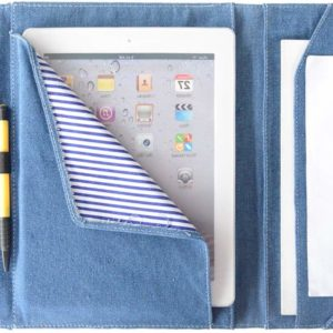 Tarkan 10 inch Denim Organiser Gadget Travel Accessory Kit Brief Case for Tablets/iPad/Mobiles