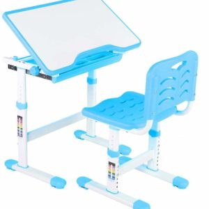 Tarkan Height Adjustable Kids Desk & Chair Set | Children Study Table with Storage Workstation for 3-15 Years Old (Blue)