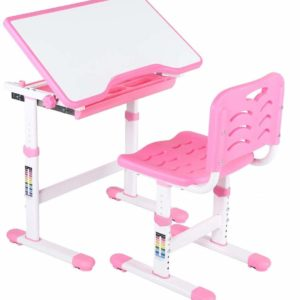 Tarkan Height Adjustable Kids Desk & Chair Set | Children Study Table with Storage Workstation for 3-15 Years Old (Pink)