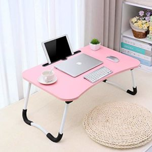 Tarkan Stud Foldable Wooden Mini Lapdesk for Couch, Sofa Bed, Study Tray Table Stand for Writing (Pink)