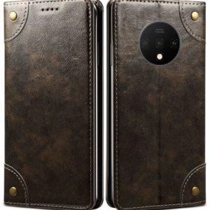 Tarkan Vegan Leather Flip Case Cover for Oneplus 7T (Brown) Magnetic Closure, Kickstand Design, Cash Card Slots