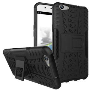 TARKAN Hard Armor Hybrid Rubber Bumper Flip Stand Rugged Back Case Cover for Oppo F1s [Black]