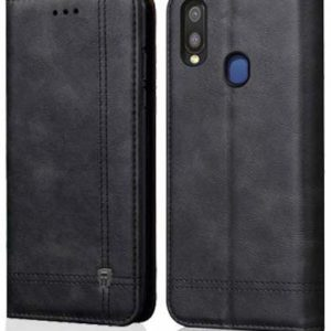 Tarkan Flip Cover Vegan Leather Stand Wallet Case with Card Slot for Samsung Galaxy M20 (Black)