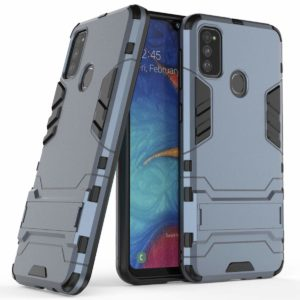 TARKAN Heavy Duty Shockproof Armor Kickstand Back Case Cover for Samsung Galaxy M21 (Blue)