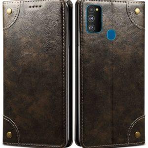 Tarkan Vegan Leather Flip Case Cover for Samsung Galaxy M21 (Brown) Magnetic Closure, Kickstand Design, Cash Card Slots