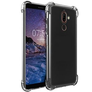 Tarkan Phone case for Nokia 7 Plus – Shock Proof Protective Soft Transparent Back Cover [Bumper Corners with Air Cushion Technology]