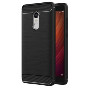 Tarkan Xiaomi Redmi Note 4 Carbon Fibre Case, Armour Rugged Shock Proof HQ Rubberized Back Cover [Charcoal Black] [Extremely Lightweight and Protective]