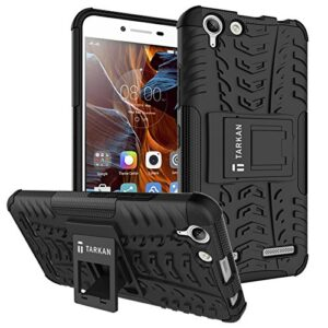 Tarkan Hard Armor Rubber Flip Stand Rugged Back Case Cover For Lenovo Vibe K5 / K5 Plus ,Black