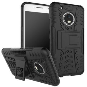 TARKAN Hard Armor Hybrid Bumper Kickstand Back Case Cover for Moto G5 Plus [Black]