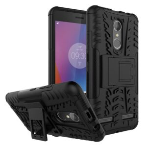 TARKAN Hard Armor Hybrid Rubber Bumper Kick Stand Back Cover Case for Lenovo K6 Power (Black)