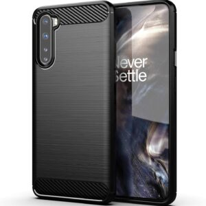 Tarkan Carbon Fibre Rugged Shock Proof Soft Back Case Cover for OnePlus Nord (Black)