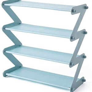 Tarkan Small Shoe Rack 4-Shelf Organizer – Steel Rods & Fabric Layer (19x18x7.5 Inch, Blue)