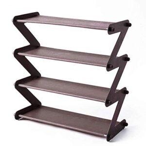 Tarkan Small Shoe Rack 4-Shelf Organizer – Steel Rods & Fabric Layer (19x18x7.5 Inch, Coffee)