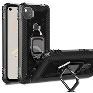 Tarkan Armor Air Bag Shockproof Back Case Cover with Kickstand Ring Holder for Google Pixel 4a 4G Version (Black) [MIL Grade Protection]