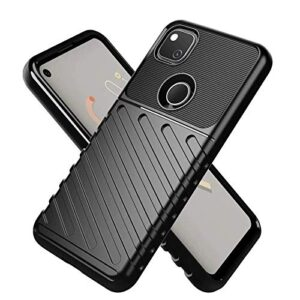 Tarkan Rugged Shock Proof Soft Grip Back Case Cover for Google Pixel 4a 4G Version (Black)