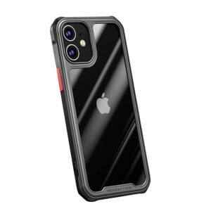 Tarkan Air Hybrid Transparent Protective Soft Back Bumper Case Cover for Apple iPhone 12 (Black Border)