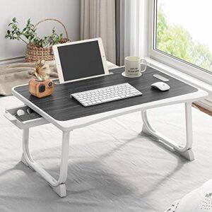 Tarkan Portable Folding Laptop Desk for Bed, Lapdesk with Handle, Drawer, Cup & Mobile/Tablet Holder for Study, Eating, Work (Black)