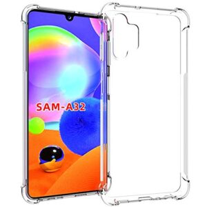 Tarkan Shock Proof Protective Soft Back Case Cover for Samsung Galaxy A32 (Transparent) [Bumper Corners with Air Cushion Technology]