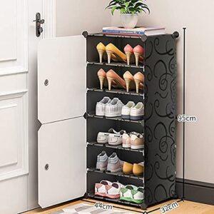 Tarkan 6 Shelf DIY Shoe Storage Rack with 2 Doors, Mask/Umbrella Hanger & Guide Stickers (Black)