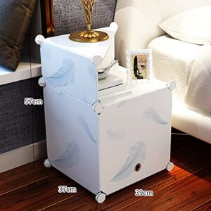 Tarkan Bed Side Mini Storage End Table, Small Designer Organizer with Door (White)