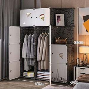 Tarkan Adult Wardrobe Closet with Hanging Sections, Clothes Storage Organizer with Doors (Black)