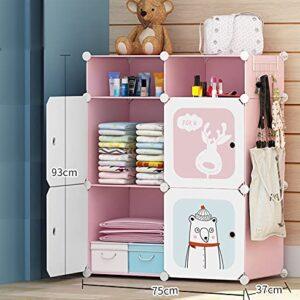 Tarkan Kids Wardrobe Closet, DIY Modular Storage Organizer with Doors, Sturdy & Safe (Pink)