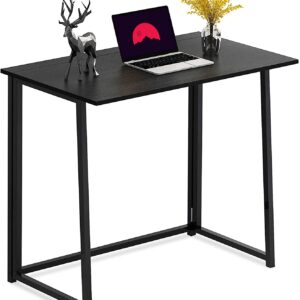 LushTree 32″ No-Assembly Folding Laptop Desk, Study Writing Table for Small Spaces (Black)