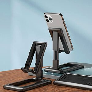 GoRogue Height & Angle Adjustable Desk Cellphone Holder for All Mobiles & Tablets, Universal Foldable Dock Stand (Black)