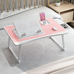 GoRogue Laptop Desk for Bed, Ventilated Angle Adjustable Notebook Stand with Cup, Mobile, Tablet Holder (Pink)