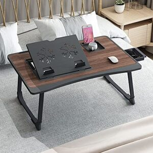 GoRogue Laptop Desk for Bed, Ventilated Angle Adjustable Notebook Stand with Cup, Mobile, Tablet Holder (Black)